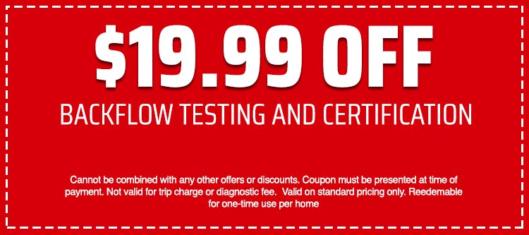 discount on Backflow Testing and Certification